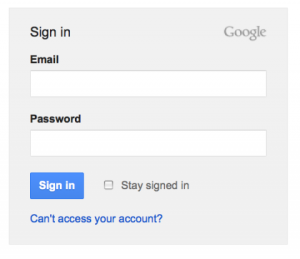 Google Login Screen
